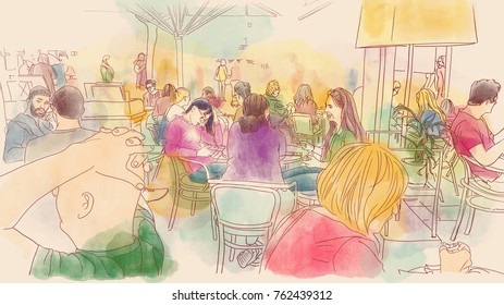 A view of people sitting in a cafe in the big city - a colorful and warm illustration painted with watercolor - handmade