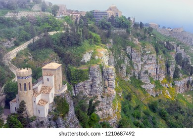 View of the Pepoli Turret in  Erice on the top of Mount Erice, Italy.