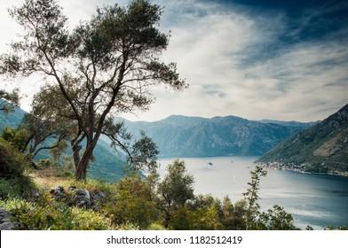 View to Perast and Boka Kotorska from Gornij Stoliv. Montenegro Bay of Kotor 2018