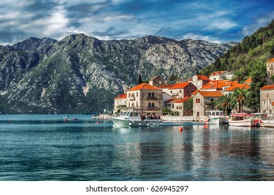 View of Perast city, Montenegro.