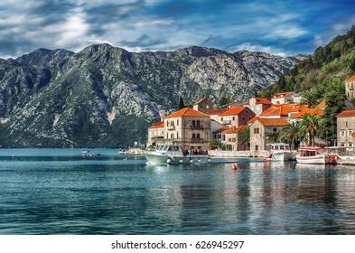 View of Perast city, Montenegro.