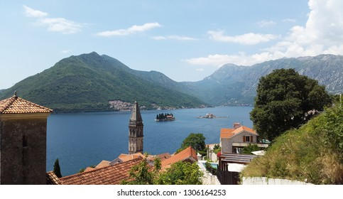 view from Perast town to islands and green hills in Bay of Kotor - Boka Kotorska -  Montenegro landscape