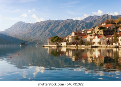 View of Perast town on a sunny winter day. Bay of Kotor, Montenegro