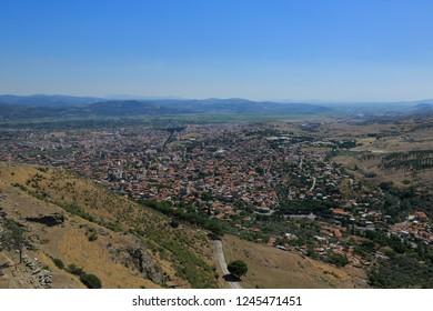 View of the Pergamon city from the ancient Pergamon Acropolis.