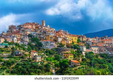 View of Perinaldo in the Province of Imperia, Liguria, Italy.