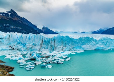 View of Perito Moreno Glacier with Iceberg floating in Argentina lake in Los Glaciares National Park Argentina Patagonia