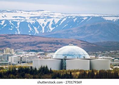 View of Perlan, water reservoir and restaurant in Reykjavik, Iceland