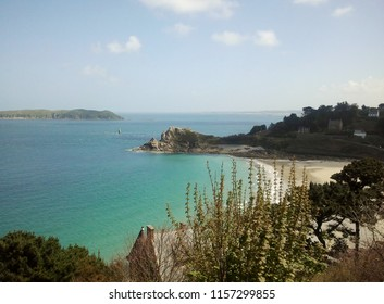 View of Perros Guirec bay in France. Turquoise seas in Brittany