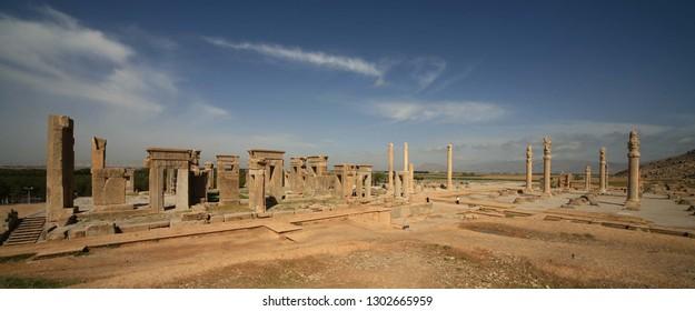 View of Persepolis, from a distant view. Persepolis, Shiraz, Fars, IRAN