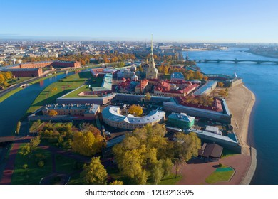 View of the Peter and Paul Fortress on a sunny October day (shooting from a quadcopter). Saint-Petersburg, Russia