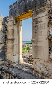 View of Peter's house and the Sea of Galilee from the ancient synagogue in Capernaum, Israel