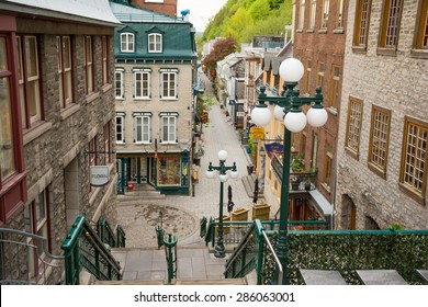View of Petit-Champlain in Lower town (Basse-Ville) of Quebec city from top of the breakneck stairs that connect with the upper town in Canada. 24 May, 2015