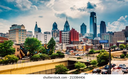 View of the Philadelphia skyline from the Reading Viaduct, Philadelphia, Pennsylvania.