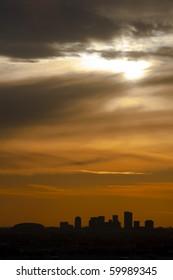 View of Phoenix, AZ at Sunset