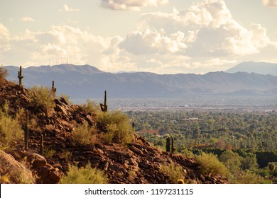 View of Phoenix and Tempe from Camelback Mountain in Arizona, USA