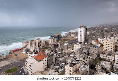 A view photo for GAZA city at cloudy weather. Gaza City, Palestine.