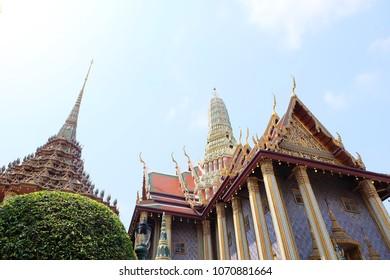 View of Phra Mondop and Prasat Phra Thep Bidon of Wat Phra Kaew, Temple of the Emerald Buddha, architecture landmark Bangkok, Thailand.