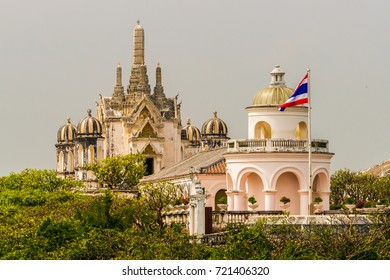 View to Phra Thinang Wichien Prasat and the observatory of Phra Nakhon Khiri Historical Park
