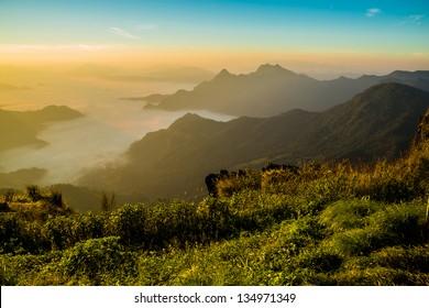 View of Phu Chi Fa at Chiang rai, Thailand