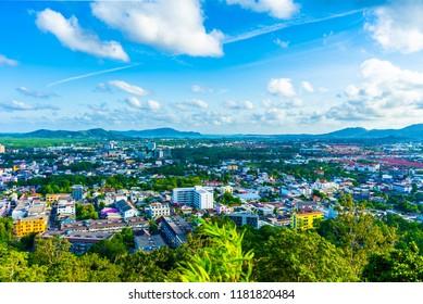 View of phuket town on khao rang view point. At Phuket, Thailand