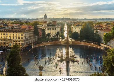 View of Piazza del Popolo from Terrazza del Pincio in Rome. Italy