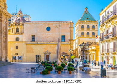 View of the Piazza Loggia in Marsala, Sicily, Italy
