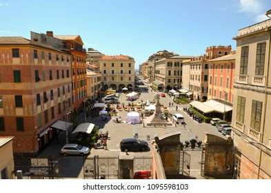 View of Piazza Matteotti from the botanical garden. Chiavari, Genoa, Liguria