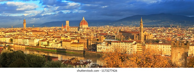 View from Piazza Michelangelo, Arno river, Palazzo Vecchio, Giotto bell tower and the cathedral of Santa Maria del Fiore, Florence, Italy