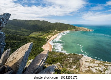 View from Pico da Coroa to Lagoinha do Leste wild beach in Florianopolis, Santa Catarina State, South Brazil