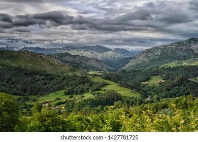 View of Pico de Europa mountains from El Allende, Asturias, Spain.