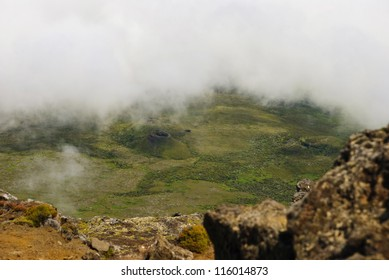 View from Pico mountain over its volcanic crater, Pico island, Azores