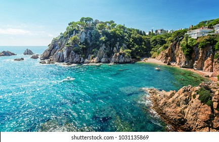 A view of the picturesque bay from the Marimurtra Gardens. Blanes. Costa Brava. Catalonia. Spain.