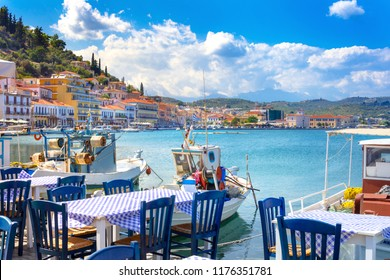 View of the picturesque coastal town of Gythio, Peloponnese, Greece.