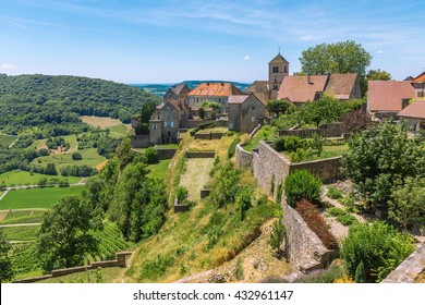 View of the picturesque medieval village in valley