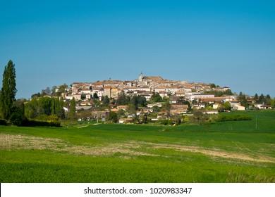 """View of picturesque Monflanquin, Lot-et-Garonne, France. Monflanquin is a member of  """"Les Plus Beaux Villages de France"""" association."""
