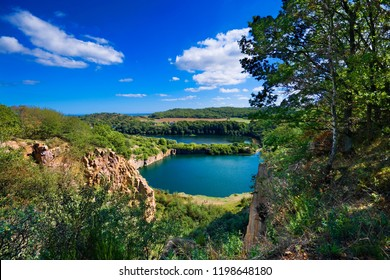View of picturesque Opal (artificial lake formed in a granite quarry) and Hammer (the largest lake on the island, the only tarn in Denmark) lakes at the Northern tip of Bornholm, Denmark.