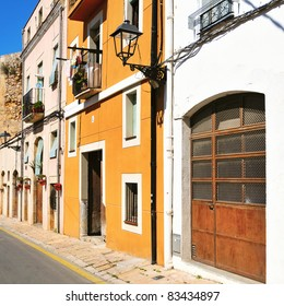 view of a picturesque street of old town of Tarragona, Spain