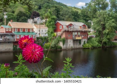 View of the picturesque town of Shelburne Falls, Massachusetts and it's scenic Bridge of Flowers.