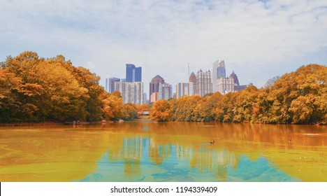 View from Piedmont park, Midtown, Atlanta, GA, United State - August 26, 2018
