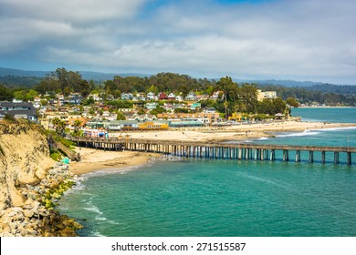 View of the pier and beach in Capitola, California.