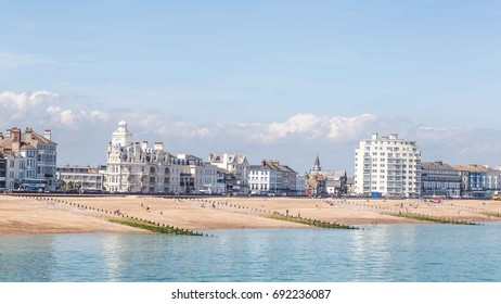 View from the  pier on the skyline of Eastbourne, Sussex, United Kingdom