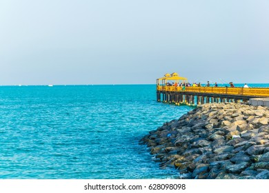 view of a pier penetrating into the sea in Kuwait