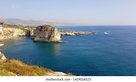 View of Pigeon Rock (Raouché), Beirut. The sea and the coast of Beirut.  Lebanon - June, 2019