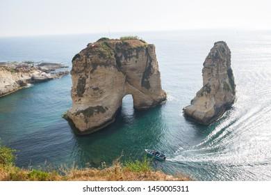 View of Pigeon Rock (Raouche Rocks), Corniche Beirut. Beirut. Lebanon