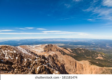 View from Pike Peak summit, Colorado Springs, CO.