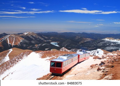 View of Pikes Peak and Manitou Springs Train on the top of Pikes Peak Mountain, Colorado, USA