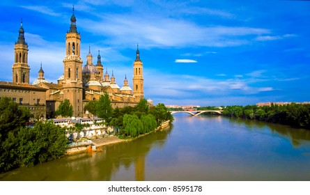 View of Pilar's cathedral and Ebro river in Zaragoza, Spain