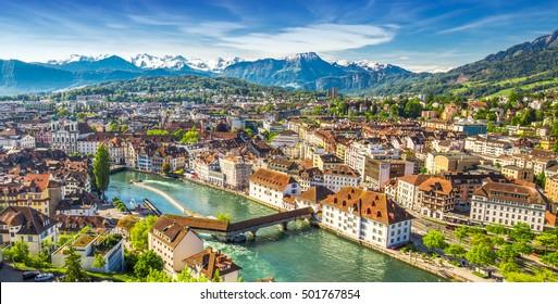 View to Pilatus mountain and historic city center of Luzern, Switzerland.