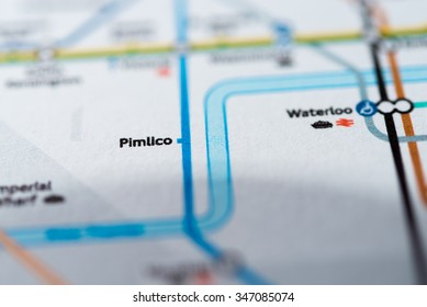 View of Pimlico station on a London underground map