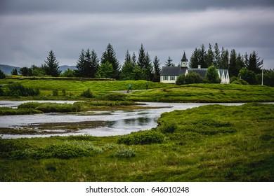 View of Pingvellir or Thingvellir National Park in summer in Iceland (UNESCO World Heritage Site)